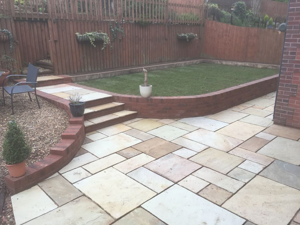 Chepstow mint fossil Indian sand stone with red decoter multi brick retaining wall-4